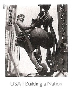 US Stamp Gallery >> Man on Hoisting Ball on Empire State Building