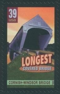 US Stamp Gallery >> Cornish-Windsor Bridge, longest covered bridge