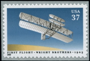 Orville Wright piloting 1903 Wright flyer