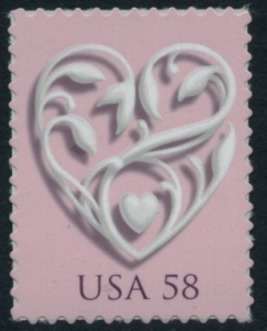 US Stamp Gallery >> Heart with pink background