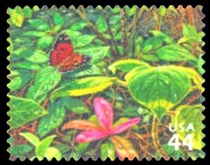US Stamp Gallery >> Pulelehua butterfly, Kolea lau nui, 'ilihia