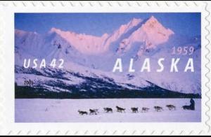 US Stamp Gallery >> Dogsledder Near Rainy Pass