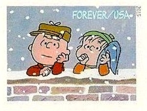 US Stamp Gallery >> Charlie Brown and Linus behing Brick Wall