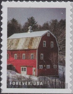 US Stamp Gallery >> Red barn with snowy roof