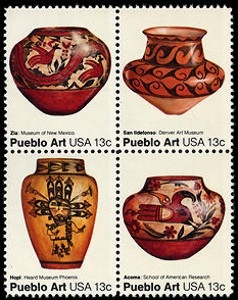 US Stamp Gallery >> Pueblo pottery - American folk art