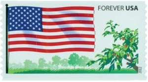 US Stamp Gallery >> U.S. flag and fruited plain