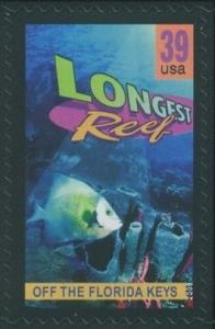 US Stamp Gallery >> Off the Florida Keys, longest reef