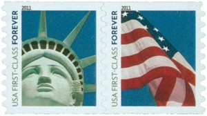 US Stamp Gallery >> Lady Liberty and U.S. Flag