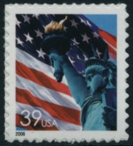 US Stamp Gallery >> Statue of Liberty, Flag