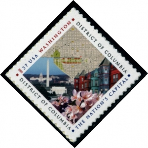 US Stamp Gallery >> Map, National Mall, row houses & cherry blossoms